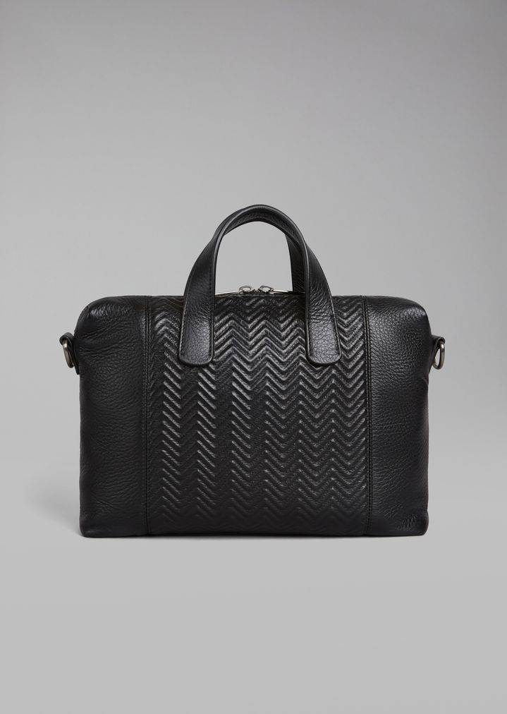Briefcase in pelle di cervo chevron