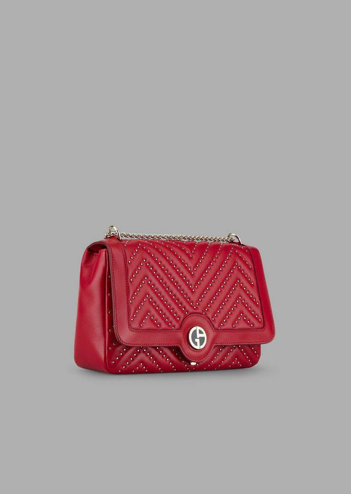 Borsa a tracolla in nappa con borchie Chevron Chinese New Year
