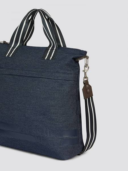 Borsa Turati medium in denim e similpelle con righe