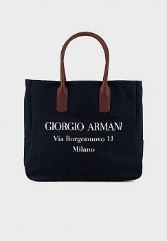 Maxi-shopper in canvas con stampa Borgonuovo