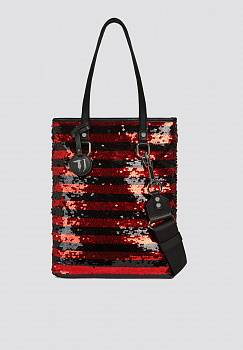 Borsa T-Wow tote a fantasia rigata night e paillettes