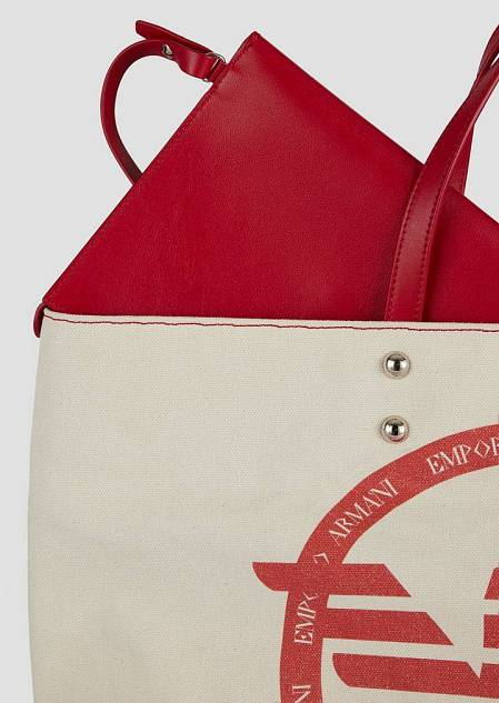 Borsa shopper in canvas con maxi logo e pochette interna