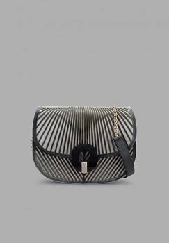 Borsa a tracolla in velluto chevron con base in satin