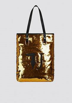 Borsa a mano T-Wow Night small con paillettes e logo